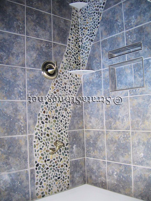 Dark-Ocean-Pebble-Tile-Shower-Accent.jpg (600×800) - Floor + Tiles ...