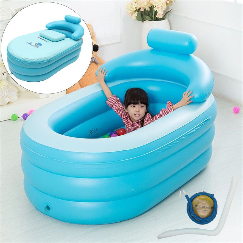 Portable Adult/Kid Bath Tub PVC Spa Warm Inflatable Bathtub w/ Foot ...