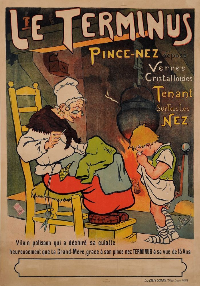 Original Vintage French Poster for Le Terminus Pince Nez Eyeglasses by SANDIS