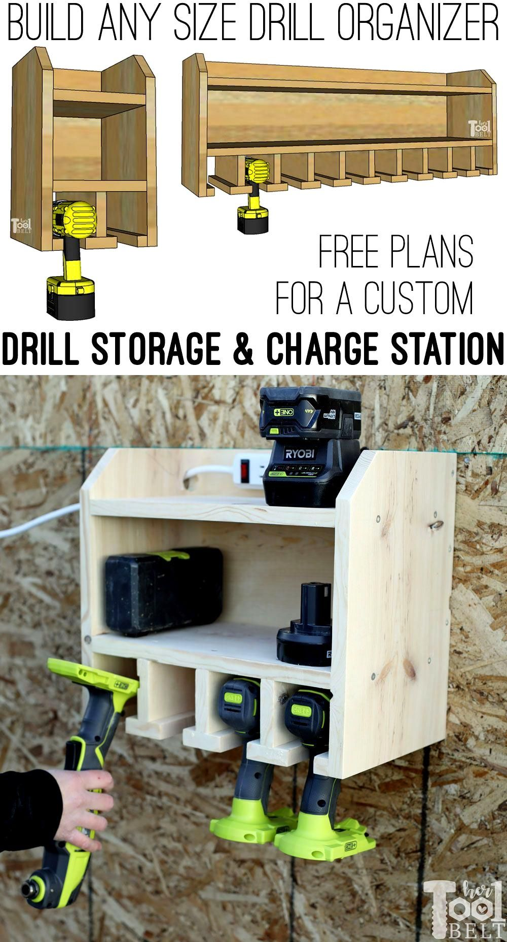 Organize Your Cordless Drills And Tools With A Custom Drill Storage And Charge Station For A In 2020 Tool Storage Diy Power Tool Storage Woodworking Projects That Sell