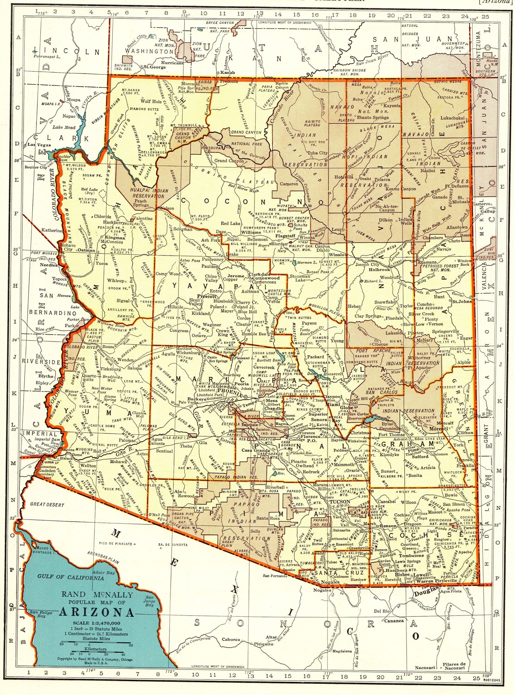 1942 Vintage ARIZONA State Map of Arizona Gallery Wall Art ...