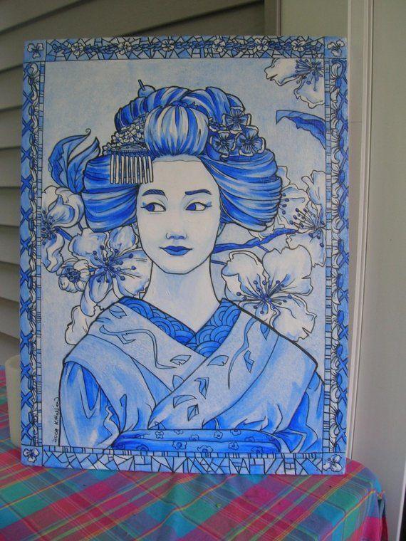 Porcelain Geisha acrylic monochromatic painting by khallion
