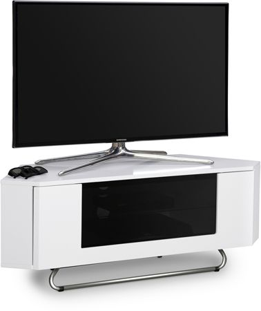 Centurion Supports Hampshire Corner Friendly Gloss White Contrast Beam Thru  Friendly Door TV Cabinet