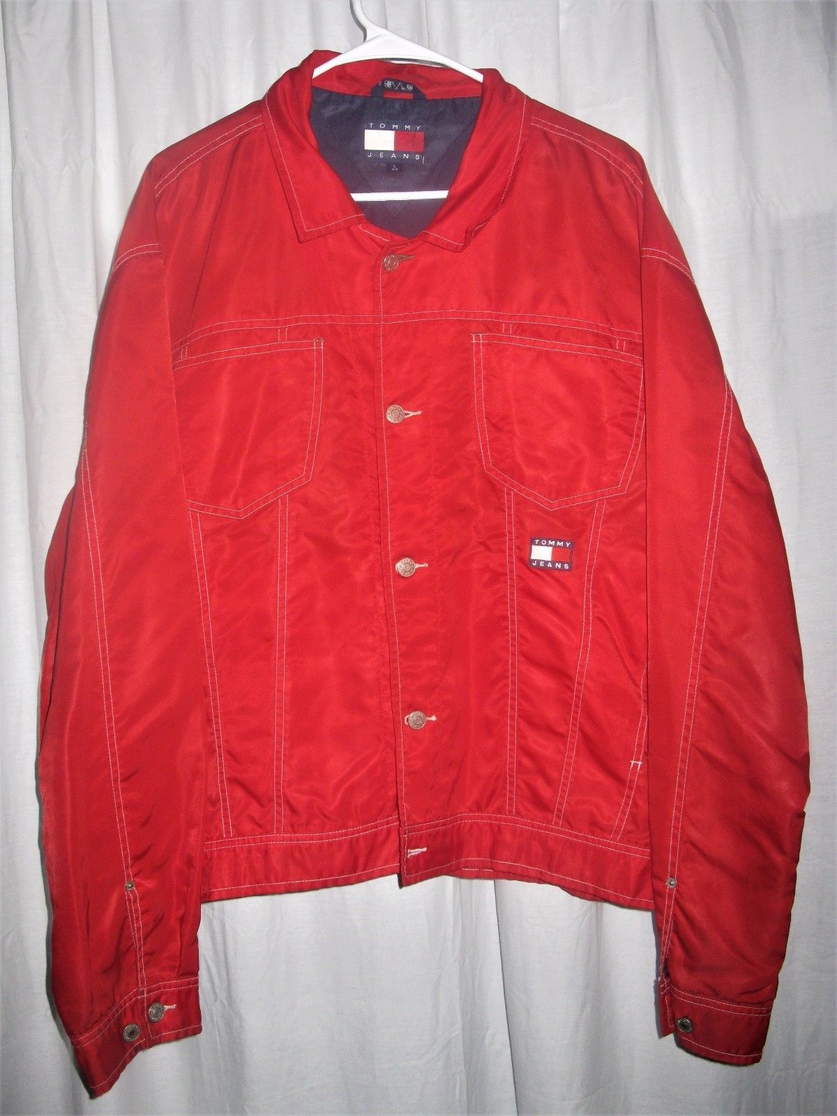 Men's Vintage Tommy Hilfiger Red 100% Nylon Button Up Windbreaker ...
