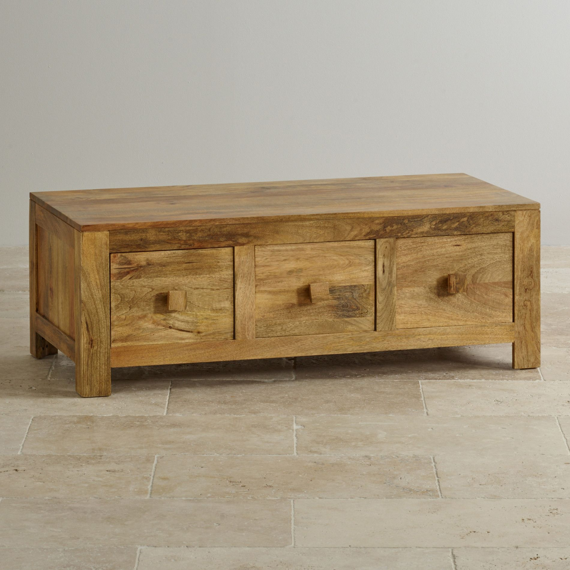 Natural Solid Mango Coffee Tables 6 Drawer Coffee Table