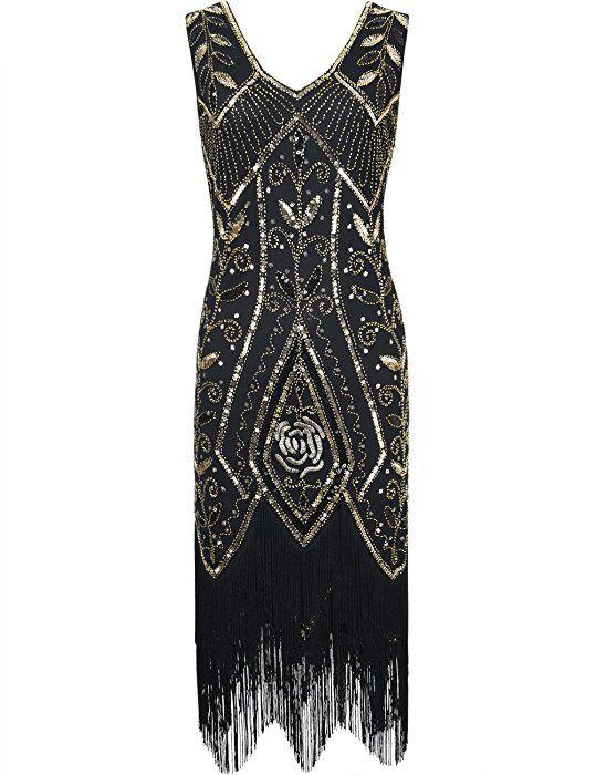 d77102b07817ea PrettyGuide Damen 1920er Gatsby Art Deco Pailette Fransen Flapper Cocktailkleid  S Gold