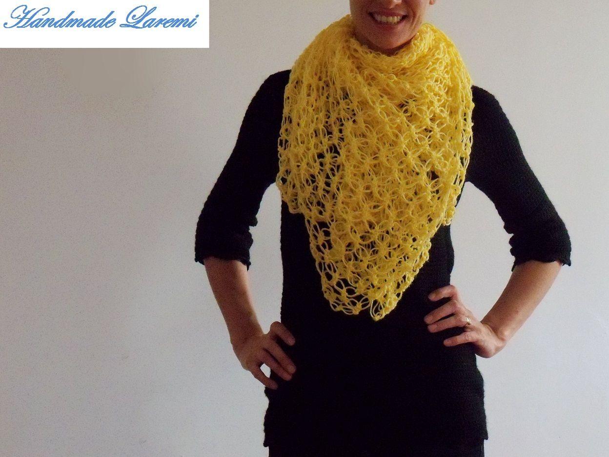 crochet scarves | Hand crochet yellow shawl / Hand Crochet Shawl/ Hand crochet Scarf