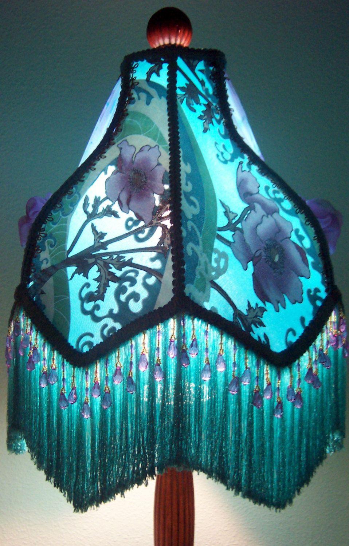 Victorian Lampshade Teal Lavender Silk Chiffon Burnout 5