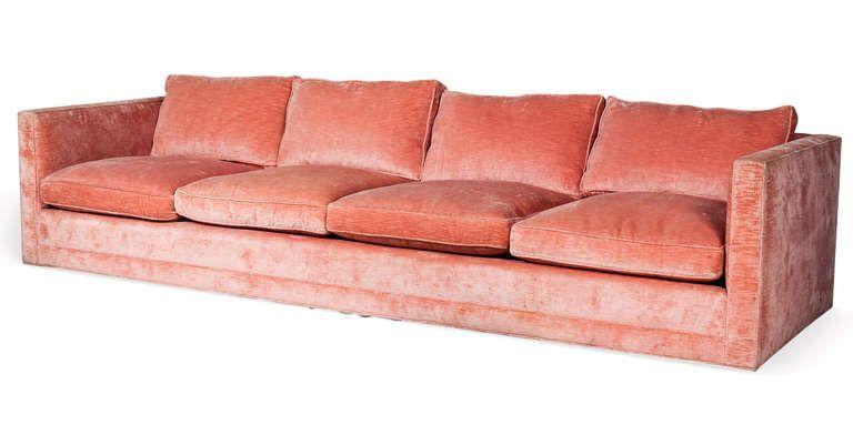 An Oversized Tuxedo Style Sofa In Clarence House Silk Velvet Image
