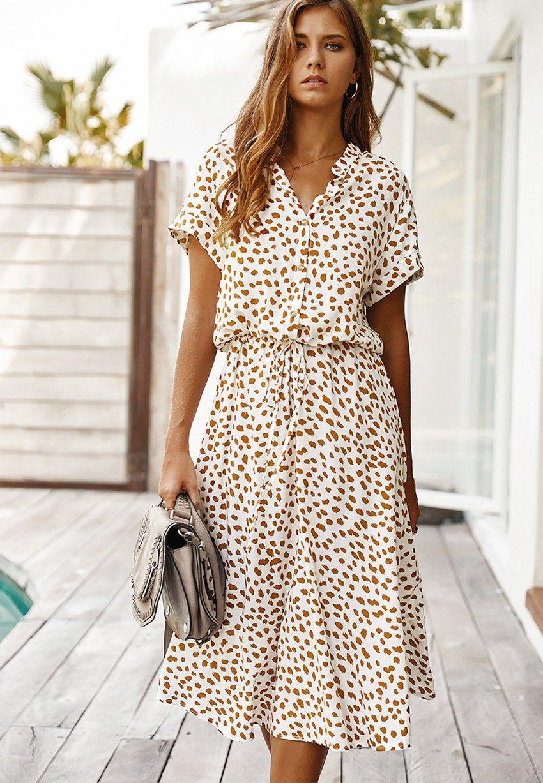 Dots Print White Summer Dress Women 2020 New Short Sleeve Tunic Vintage Midi Dress Casual Holiday Boho Beach Dress Vestidos White Short Sleeve Dress Dot Print Dress Vintage Midi Dresses [ 1227 x 850 Pixel ]