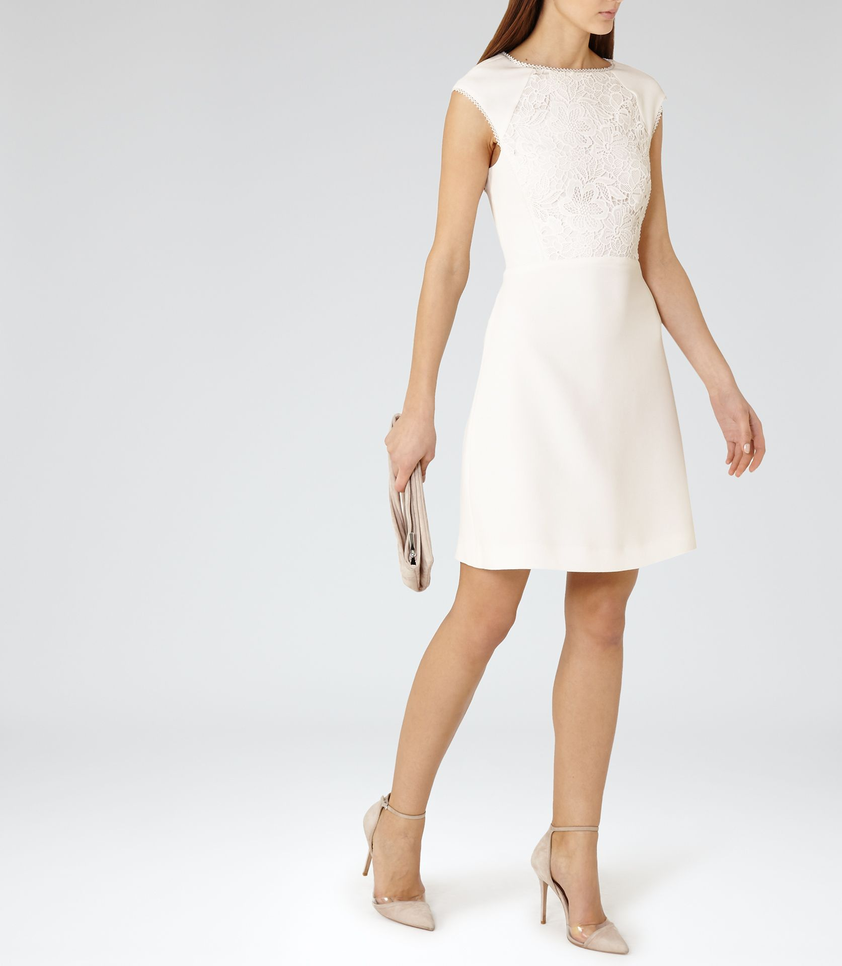 Womens Off White Lace-panel Dress - Reiss Talithia | bridesmaids ...