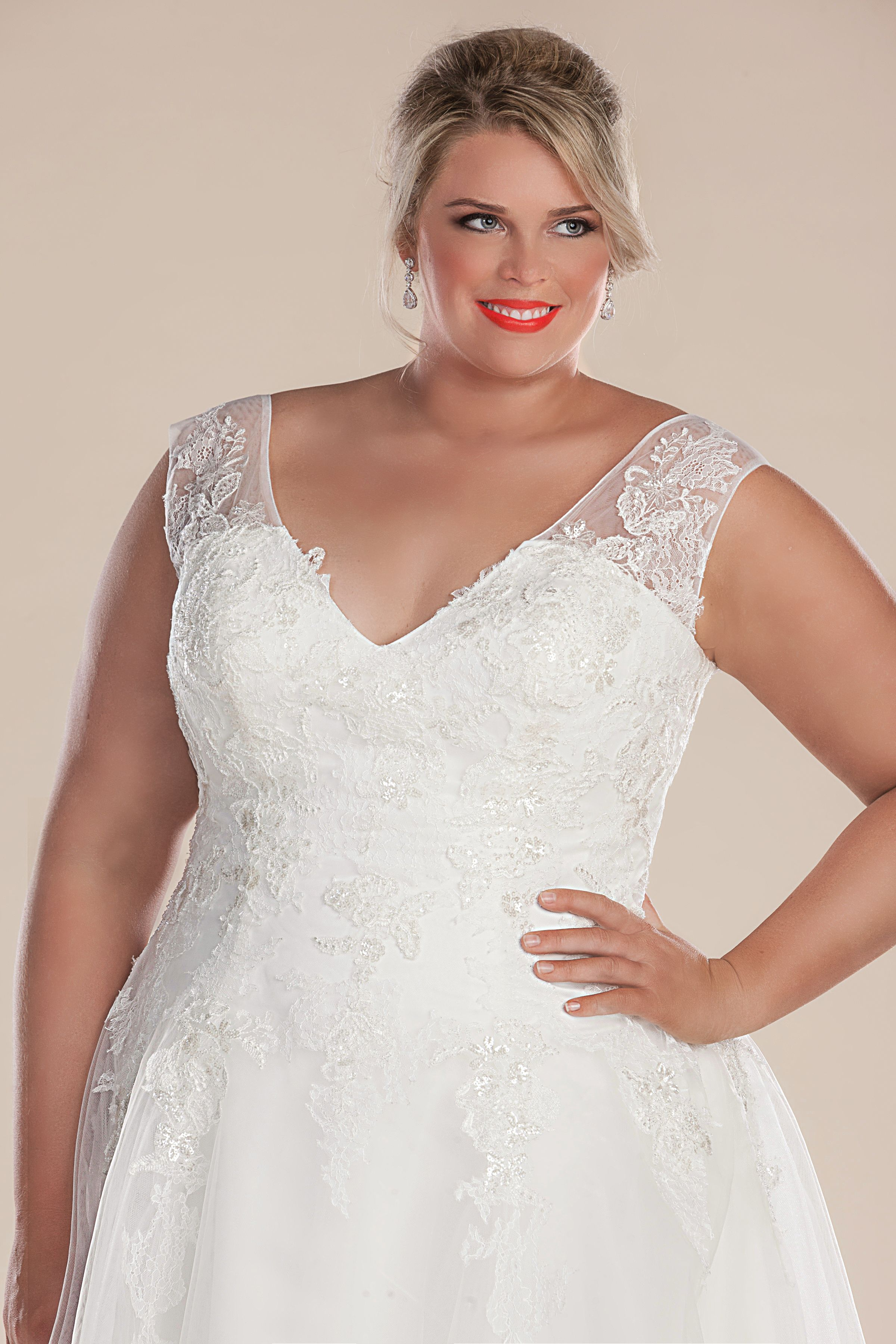 Retro short plus size lace wedding dress perfection collection