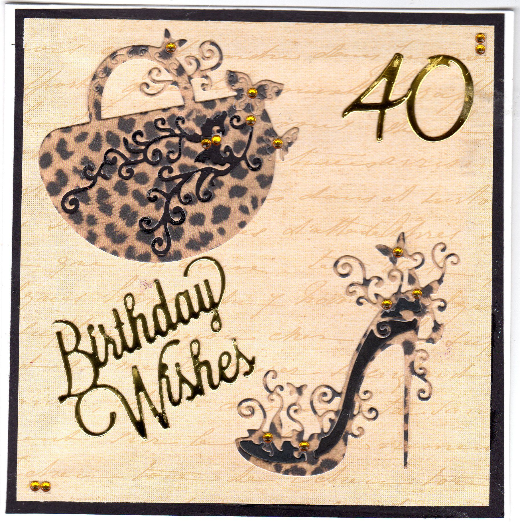40th Birthday card with Tattered lace handbag and shoe