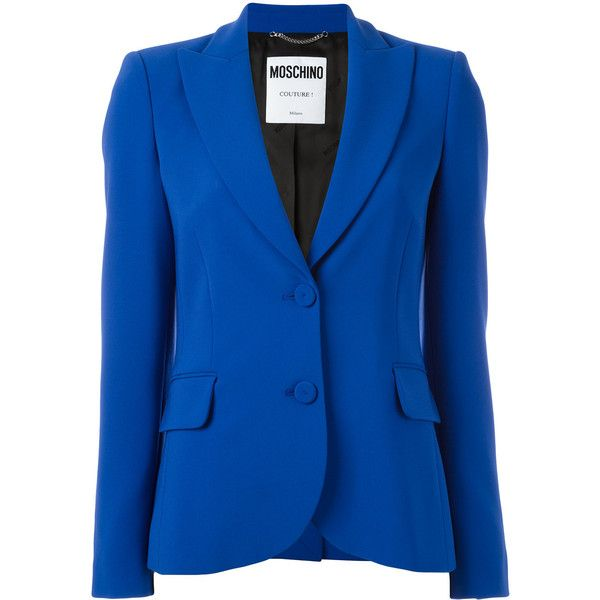 Moschino peaked lapel blazer (8.420 DKK) ❤ liked on Polyvore featuring outerwear, jackets, blazers, blue, moschino blazer, peak lapel jacket, blue jackets, moschino and blazer jacket