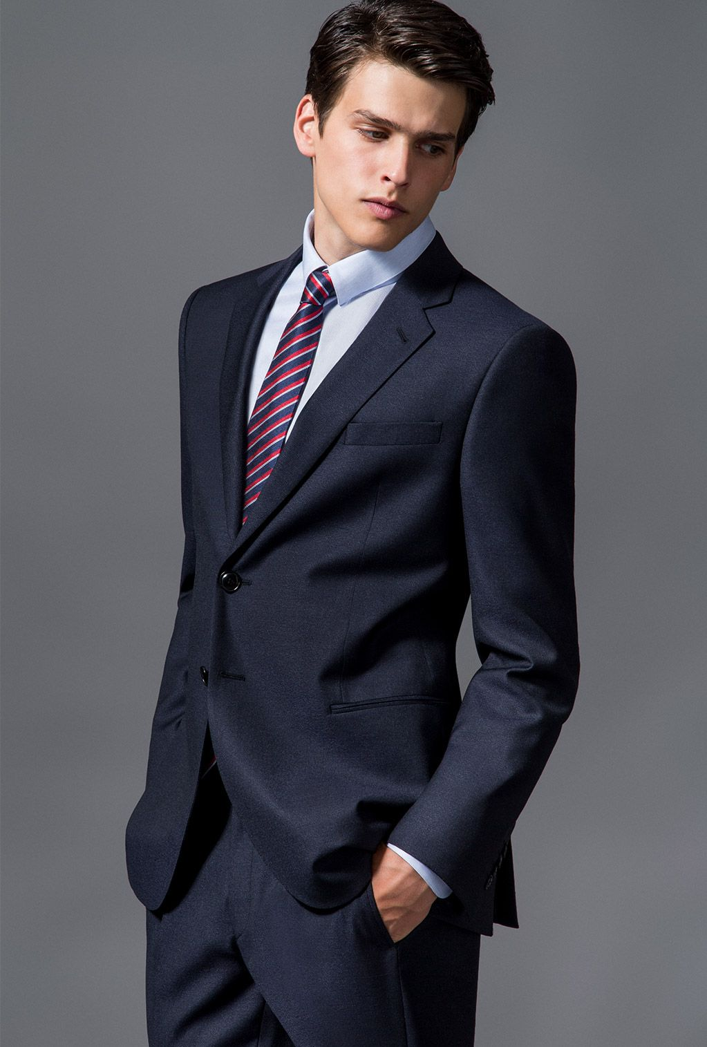 Black Armani Party wear suit with stripped tie