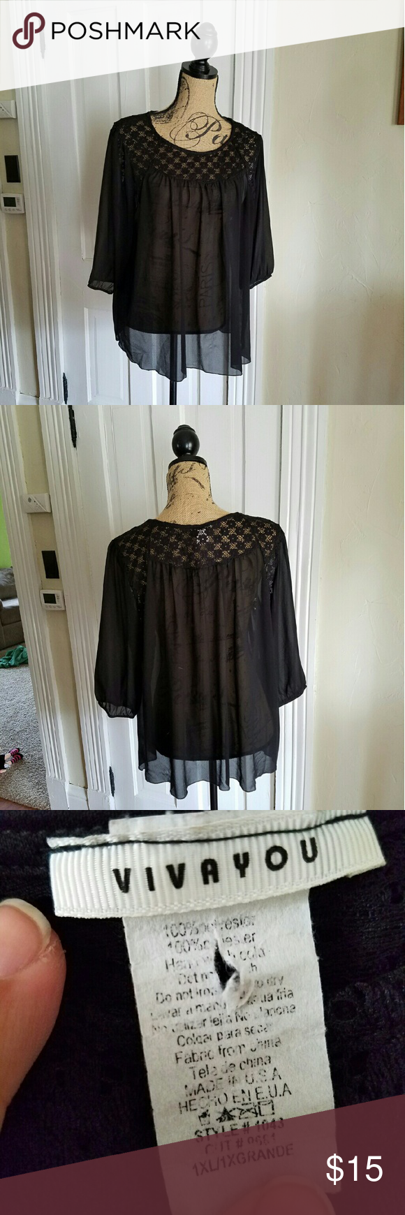 Vivayou Black Sheer & Lace Black Top Gently used Stretchy Sheer Lace contrast Vivayou Tops Blouses