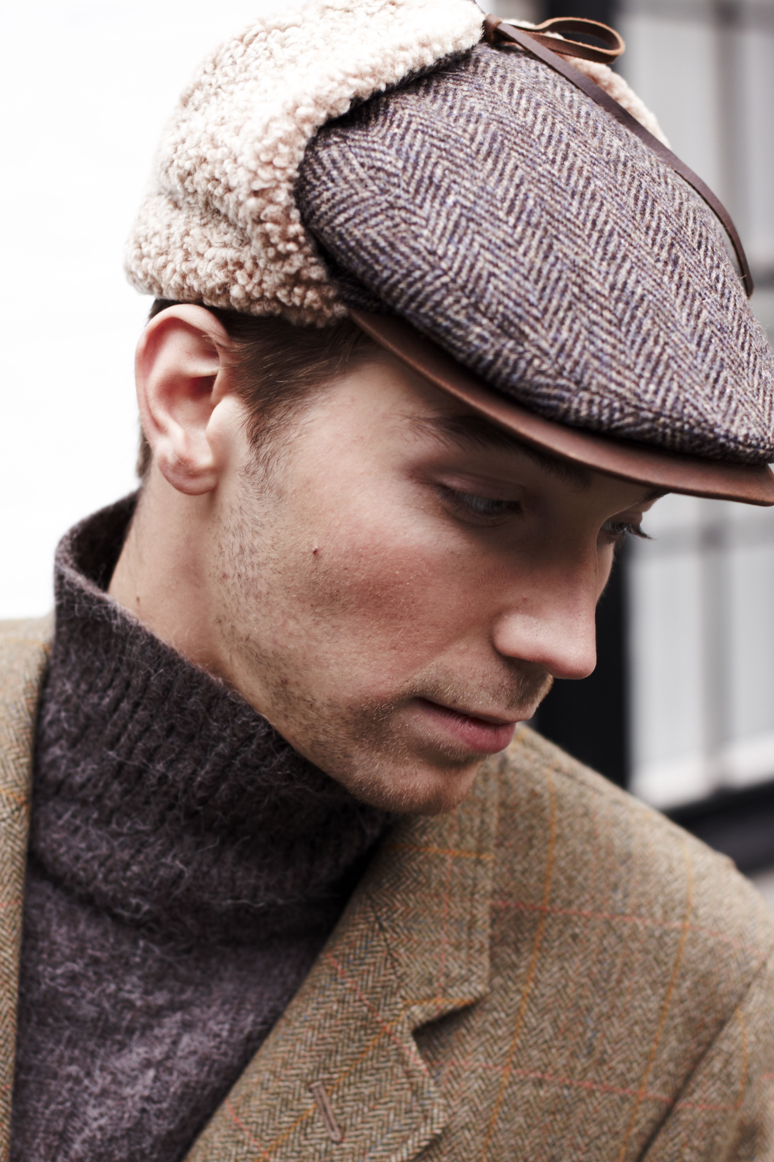 3df73ba12 Memphis Hat made of Scottish Tweed, English Shearling and finished ...