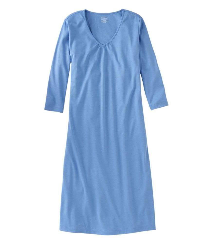 Our three-quarter-sleeve cotton nightgown is made from ultrasoft pima cotton for the smoothest feel against your skin - and the longest wear. Relaxed Fit: Our most generous fit sits farthest from the body. Falls below knee. 100% ultrasoft Supima cotton. Machine wash and dry. Relaxed pull-on style. Feminine V-neckline. Shirring details. Imported.