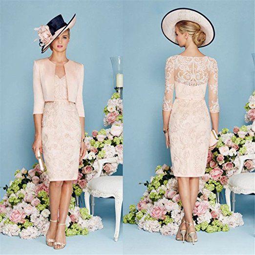 dressvip Pink Lace Half Sleeves Knee Length Formal Dress with Jacket ...