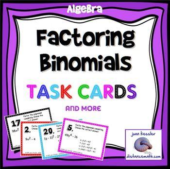 Factoring Binomials Task Cards Multiple Choice Plus Hw Qr Hot Off