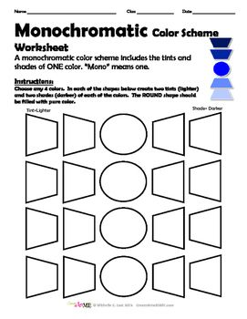 Monochromatic Color Scheme Worksheet in 2020
