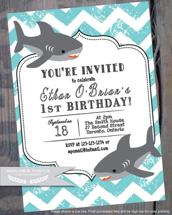 PRINTABLE Birthday Invitation Custom Chevron Shark Blue Nautical Vintage DIY