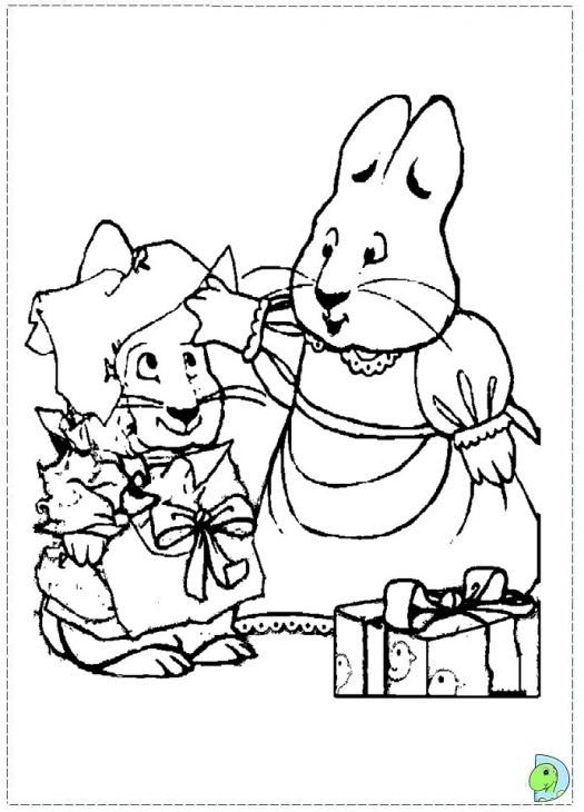 Max And Ruby Celebrating Christmas Coloring Page With Images