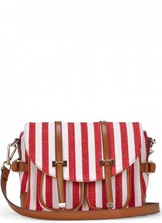 Red Stripe Canvas Messenger
