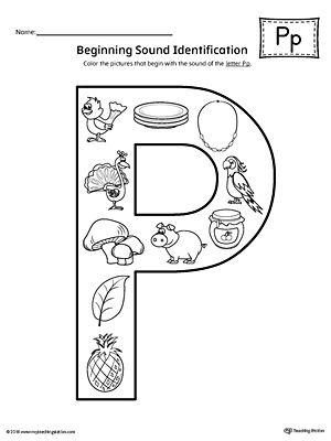 Letter P Beginning Sound Color Pictures Worksheet Beginning Sounds Worksheets Alphabet Worksheets Kindergarten Alphabet Letter Activities