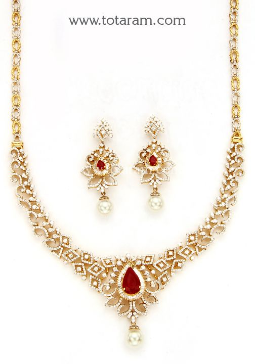 18K Gold Diamond Necklace Earrings Set with RubyOnyx Stones