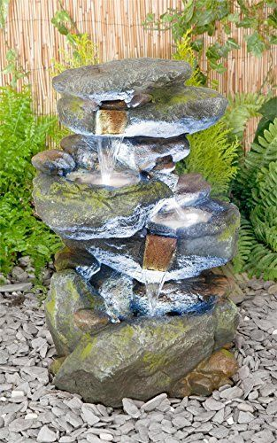 Small Solar Powered Water Feature 3 Tier Cascading Design