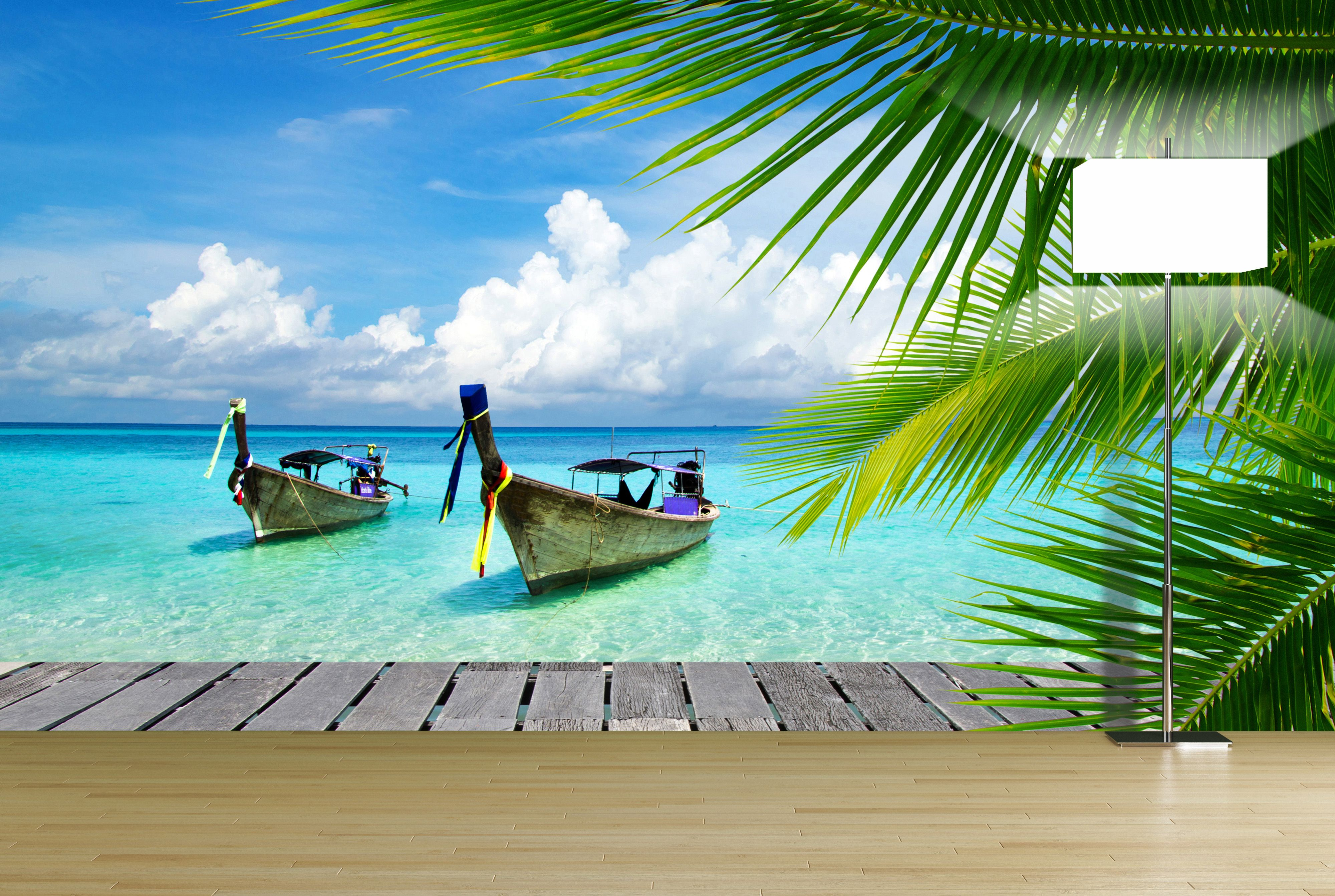 Tropical Ocean Wall Mural (With images) Beach wall