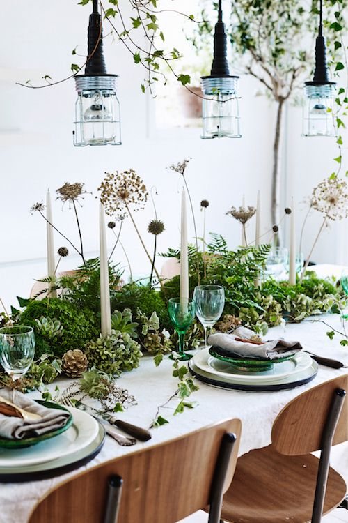 green christmas decoration table - Green Christmas Table Decorations