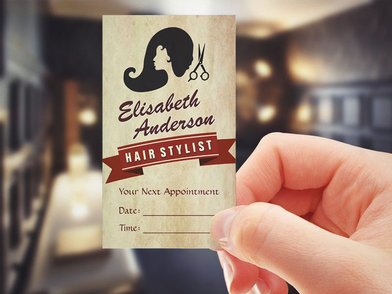 Salon business cards business card tips business cards retro beauty hair salon stylist appointment business card created by cardhunter this design is available on several paper types and is totally friedricerecipe Images