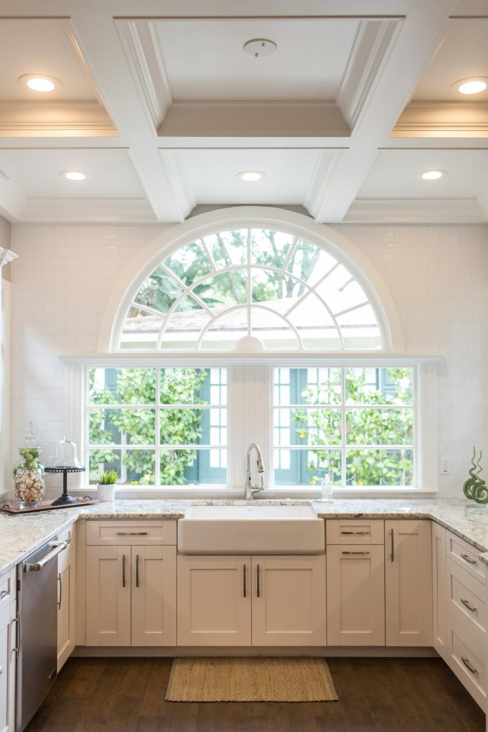 Creative Kitchen Window Treatments Hgtv Pictures Ideas: A Beautiful Half Circle Window Is A Worthy Centerpiece In