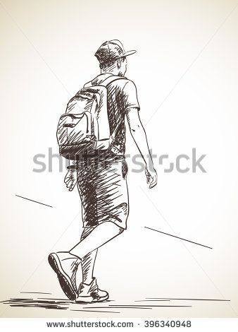 Sketch Of Walking Man From Back Hand Drawn Illustration Stock Vector Figure Sketching Human Figure Sketches Human Figure Drawing