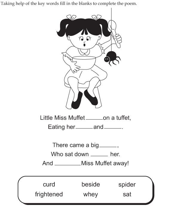 Little Miss Muffet Worksheet Sight Words Kindergarten Worksheets For Kids Little Miss Free nursery rhymes worksheets for