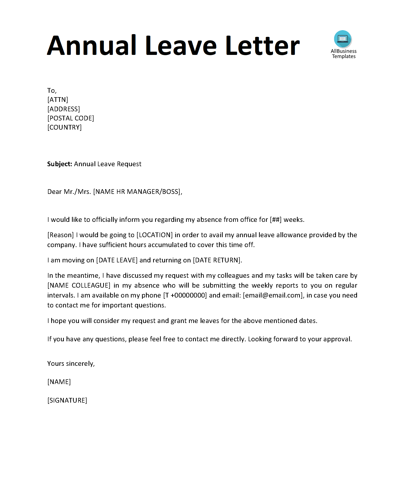 Annual Leave Letter Templates At Allbusinesstemplates Com Lettering Download Letter Templates Lettering
