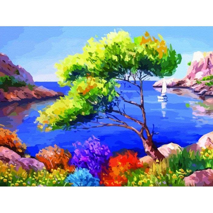 Морской пейзаж Раскраска по номерам на холсте Color Kit ...