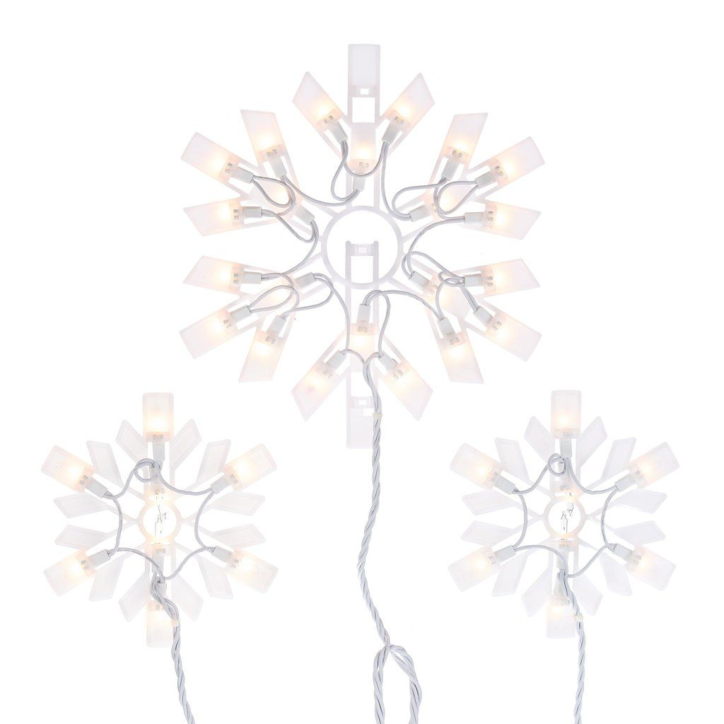 Holiday Time Clear Snowflake Icicle Christmas Lights Set