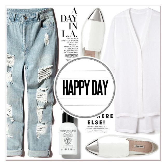 """Happy Day"" by lucky-1990 ❤ liked on Polyvore featuring Helmut Lang, Miu Miu and Bobbi Brown Cosmetics"