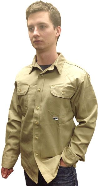 3ccd1c6679d6 Fire resistant khaki color work shirt 625-USK from Chicago Protective  Apparel.