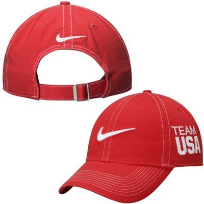 d300e9cc USA Nike Swoosh Campus Dri-FIT Adjustable Hat Contrast Stitch - Red ...