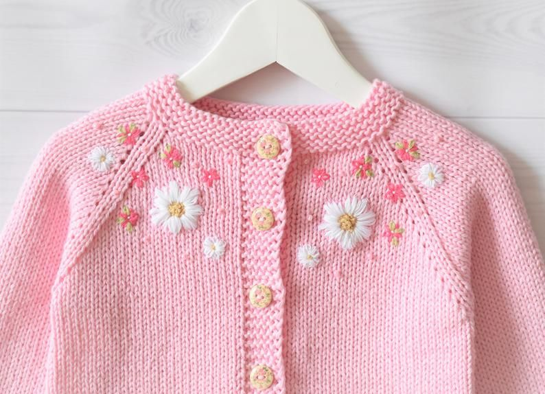 100/% Pima cotton Handmade baby girl knitted /& embroidered sweater embroidered rose decoration cotton hand embroidery