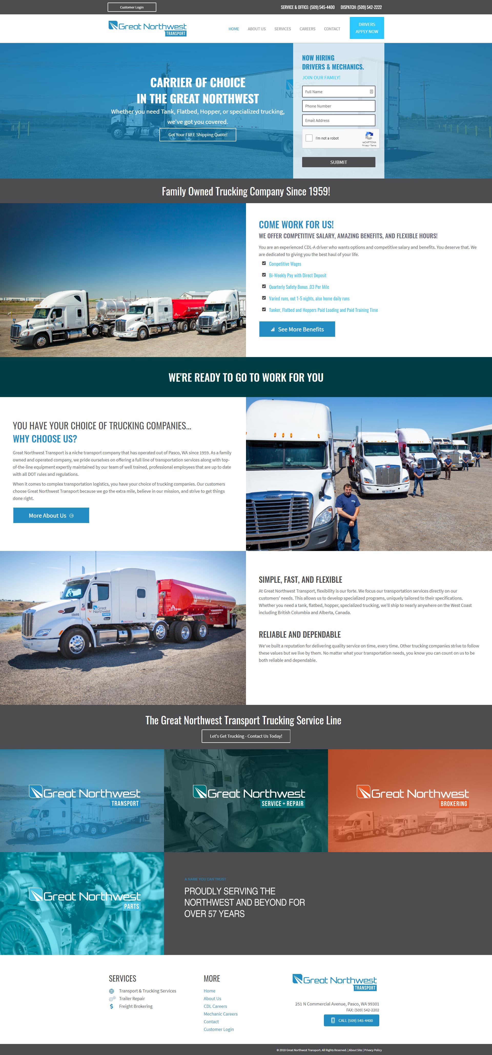 Trucking Website Design Digital Marketing Design Portfolio Web Design Portfolio Design
