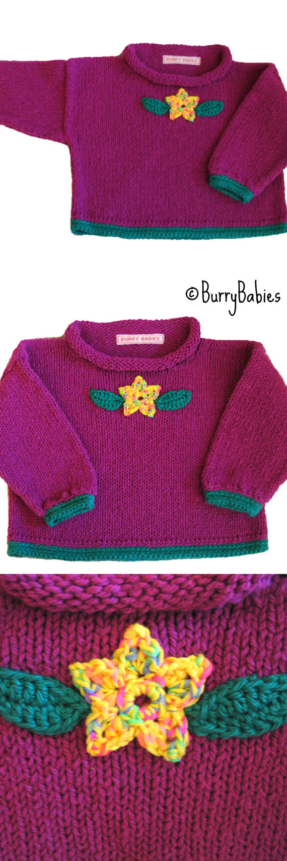Violet Purple Knitted Baby Sweater with Crocheted Flower and ...