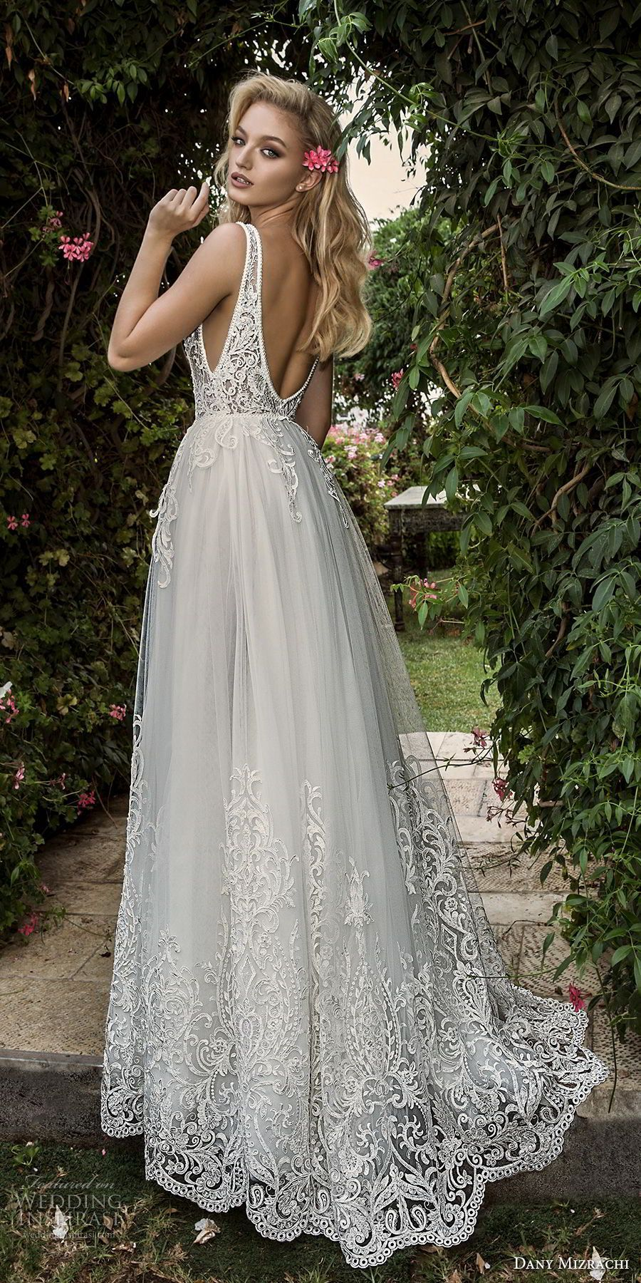 Lace wedding dress open back say yes dress  dany mizrachi spring  bridal sleeveless with strap deep plunging