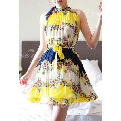 Halterneck Floral Print Sleeveless Women's Pleated Dresses With Belt