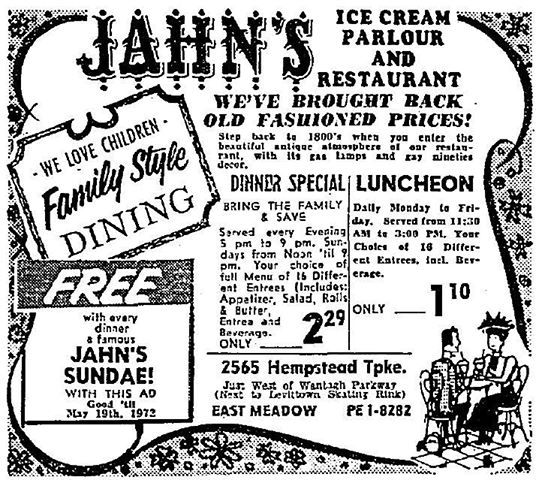 Early May 1970s Ad For Jahns East Meadow Long Island