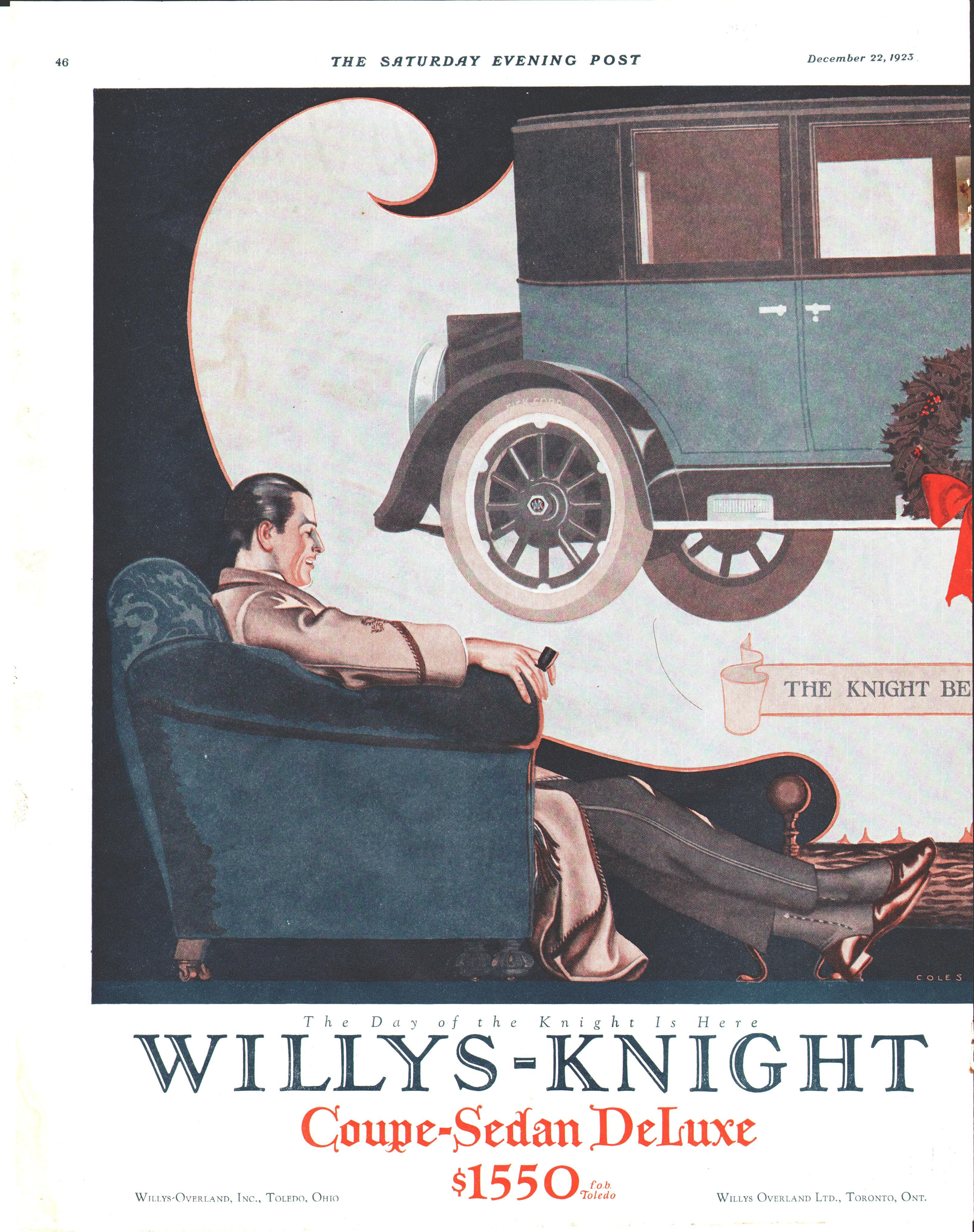 Coles Phillips Willys Overland Automobile Ad December 22 1923